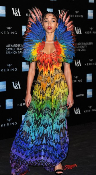 dress colorful feathers fka twigs