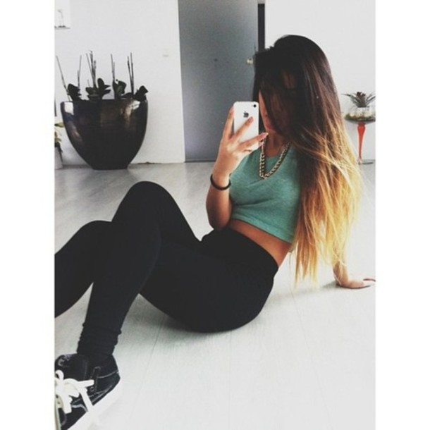 blouse jewelry crop tops leggings high top sneakers necklace iphone cover ombre hair pants jewels shirt