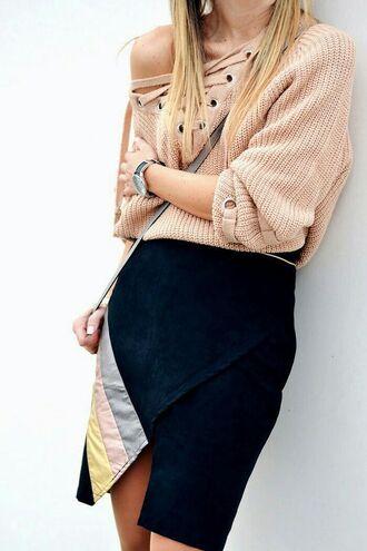 sweater tumblr beige beige sweater lace up jumper lace up skirt black skirt asymmetrical asymmetrical skirt