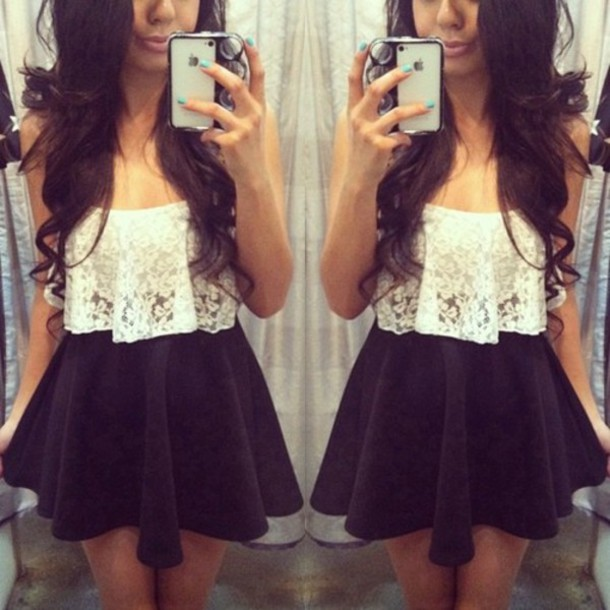 lace-crop--skater-skirt-black-white-floral-blouse-crop-strapless+lace ...