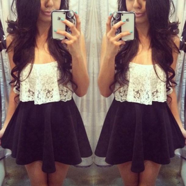 Tank top pretty tumblr lace crop top skater skirt black white floral blouse crop ...