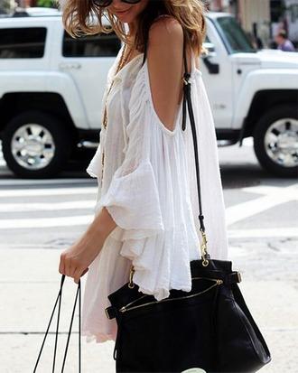 dress bag boho dress clothes belt fashion trendy white dress hair accessory
