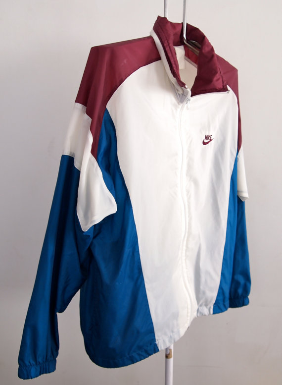 6e5899f2bef8 Vintage Nike Windbreaker Jacket Large Maroon Blue White with Hood