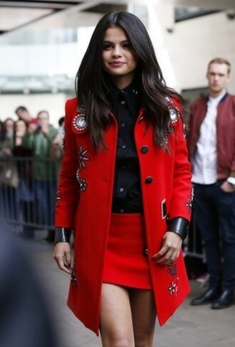 skirt embelished coat red mini skirt mini skirt red skirt selena gomez celebrity style celebrity shirt black shirt coat red coat