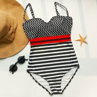 swimwear one piece swimsuit summer stripes polka dots fashion beach rose wholesale-ap