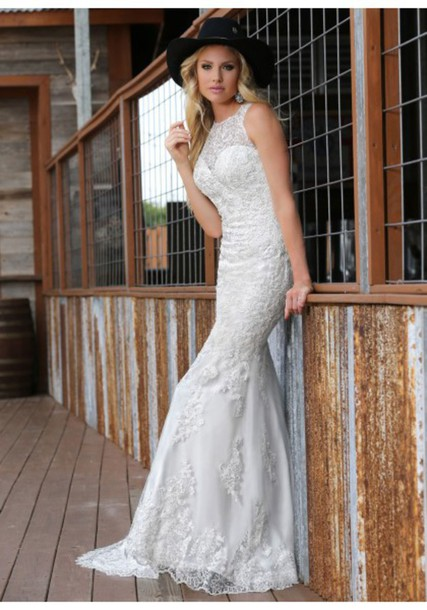 Dress cool cool bride western america lace mermaid for Western lace wedding dresses