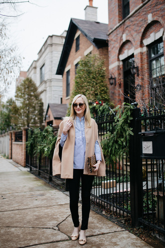 kelly in the city - a preppy chicago life style and fashion blog blogger pants dress leggings cape blue shirt clutch winter outfits fall outfits