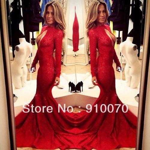 venta caliente glamoroso de encaje rojo manga larga sirena niñascargan 2014 frontal con un agujero de cola