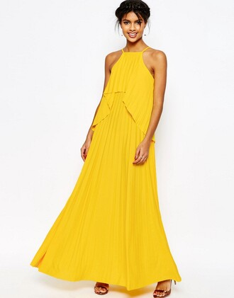 dress ruffle yellow dress maxi dress layered