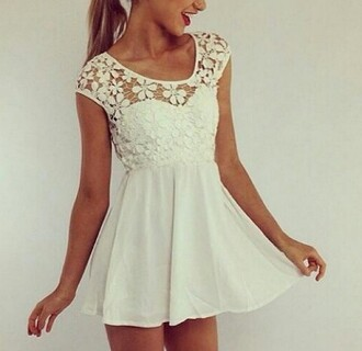 dress white dress white summer floral short girly flower nice bautiful lace amazing love