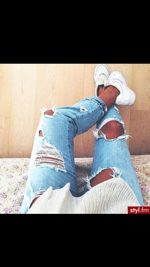 jeans ripped jeans cute tights light blue slitna trashy nike air white blue skinny jeans pants denim rips light color