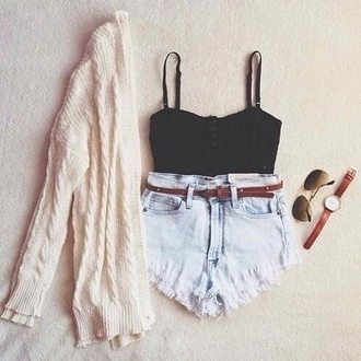 sweater shorts tank top
