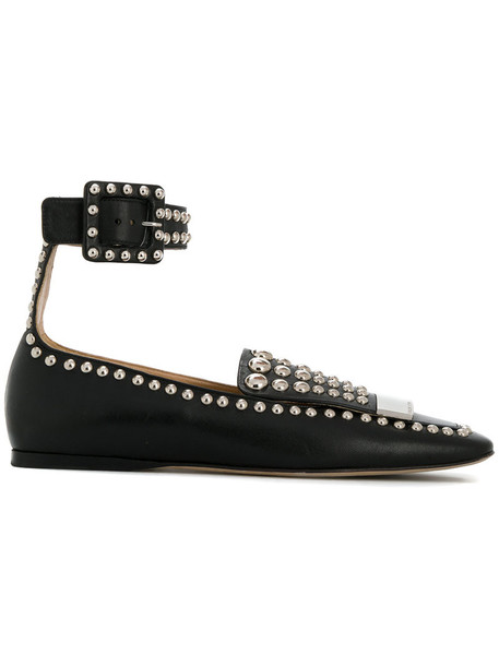 studded women flats leather black shoes