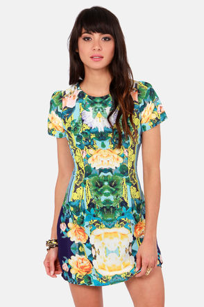 Pretty Floral Print Dress - Short Sleeve Dress - $53.00