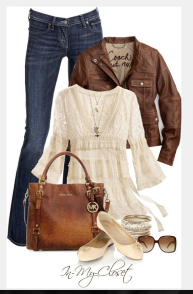 top shirt blouse shoes bag purse clothes outfit v-neck flats jacket leather jacket cream blouse long sleeves empire waist top ruffled top jeans pants slippers lacey top
