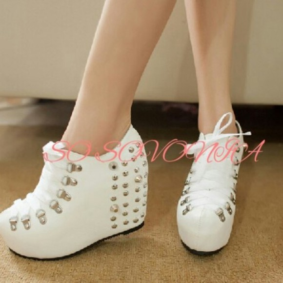 shoes white shoes spiked shoes white shoes, shoes, heels, indie, fashion,