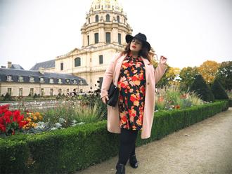 dress pink coat coat plus size maternity maternity maternity dress curvy plus size plus size coat plus size dress floral floral dress opaque tights hat bag black bag