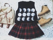 blouse,skirt,shirt,shoes,back to school,bag,moon stages,fashion bags,tank top,moon,moon shirt,tartan skirt,timberland boots shoes