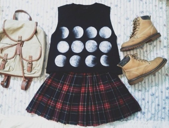 tartan skirt timberlands blouse skirt shirt shoes back to school bag moon stages fashion bags shirt moon moon shirt bag