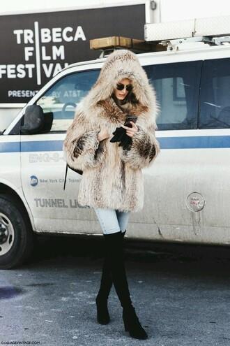 coat beige fourrure