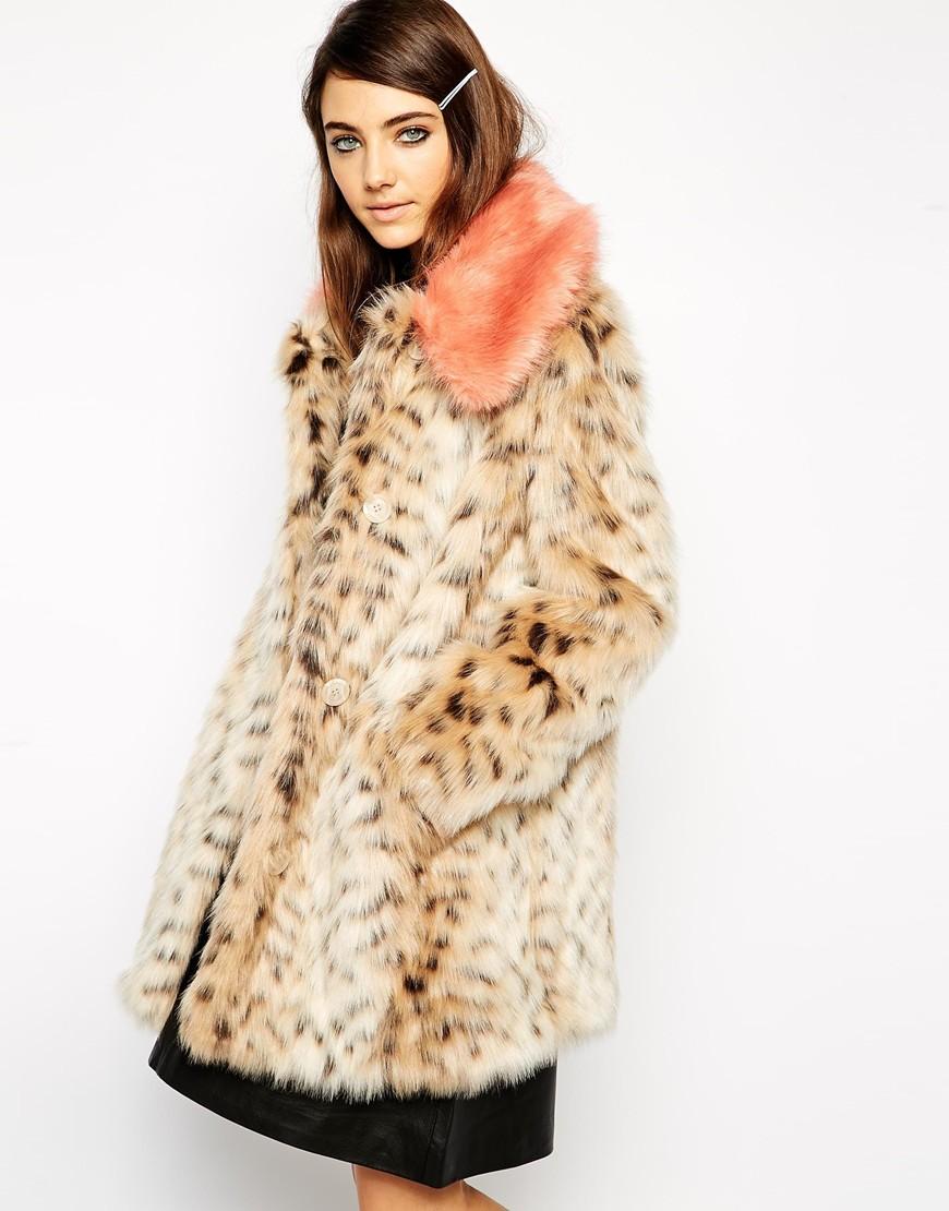 Asos faux fur leopard print coat with contrast collar at asos.com