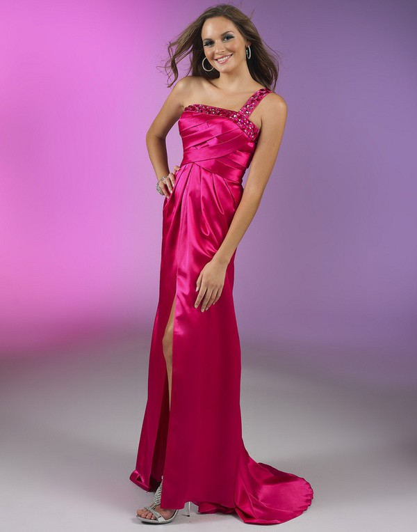 red evening dresses one-shoulder dresses