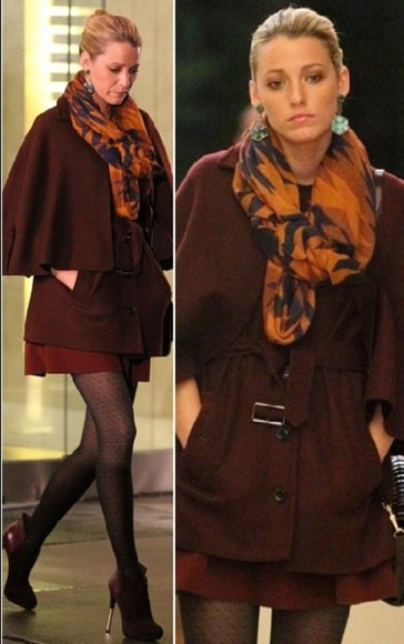 gossip girl blake lively serena van der woodsen coat burgundy oversized winter
