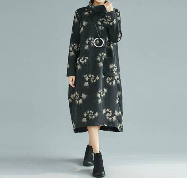dress long sleeves black dress loose fitting long dress