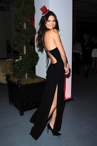 dress kendall jenner slit open leg open back long