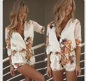 romper,blouse,i want this jumper.,dress,jumpsuit,floral jumpsuit,white,playsuit short