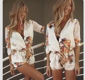 romper,blouse,i want this jumper.,dress,jumpsuit,floral jumpsuit,white,playsuit short