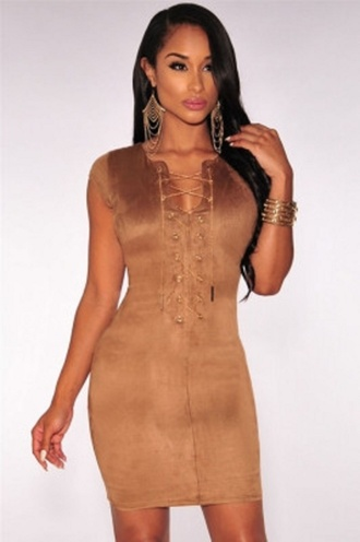 dress mini mocha-faux sleeveless suede sexy dress wots-hot-right-now mini dress mocha dress criss cross criss cross neck