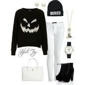 halloween,halloween sweater,bored,beenie,sweater,pants