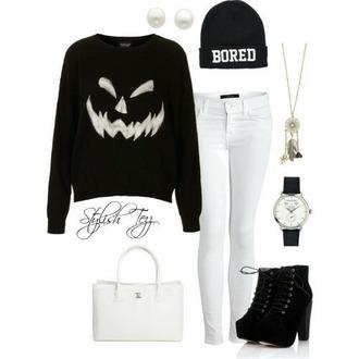 halloween halloween sweater bored beenie sweater pants