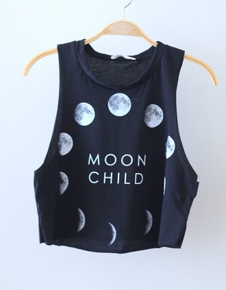 shirt black crop top moon phases of the moon