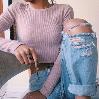 top pink ripped jeans brunette pink top knitted top crop tops