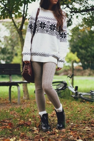 sweater snowflake black and white tribal pattern aztec warm cozy oversized sweater aztec sweater christmas sweater winter outfits