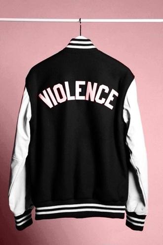 jacket black tumblr grunge edgy print varsity jacket graphic sweater violence