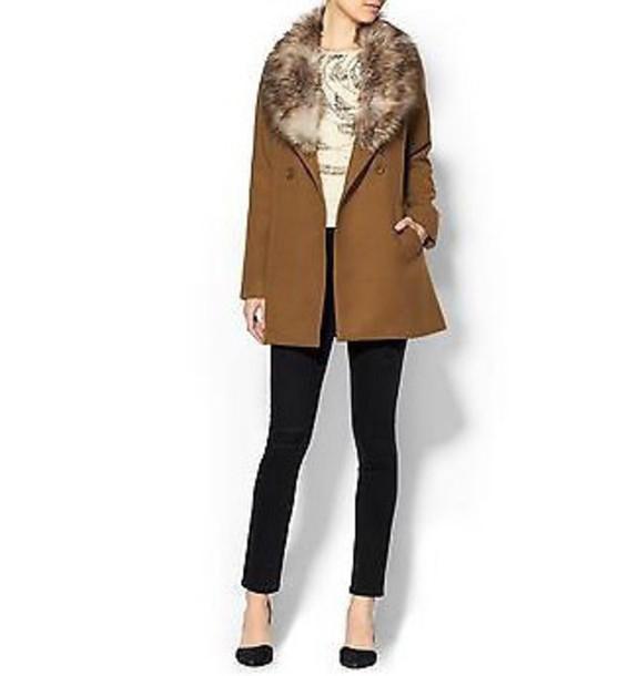 coat sabine mara fur trim coatt