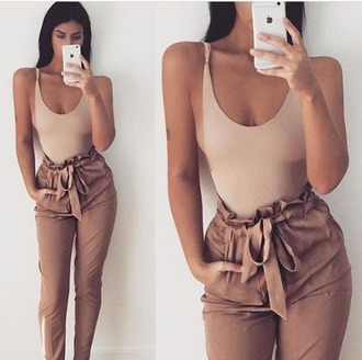 pants jeans loose khaki tan camel beige bow ruched gathered flounce trouser tie bowtie women girl iphone iphone6 iphone 6 case skinny tight
