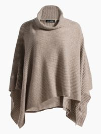 Cashmere Knit Cowl Neck Poncho