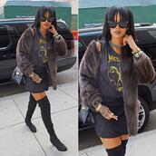 jacket,fur,faux fur jacket,rihanna,sunglasses,bag,over the knee boots,boots,shoes
