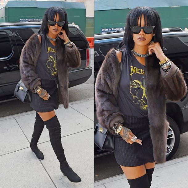 jacket fur faux fur jacket rihanna sunglasses bag over the knee boots boots shoes
