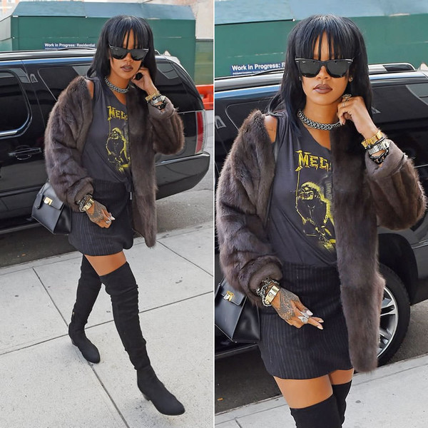 jacket fur faux fur jacket rihanna sunglasses bag over the knee boots boots shoes
