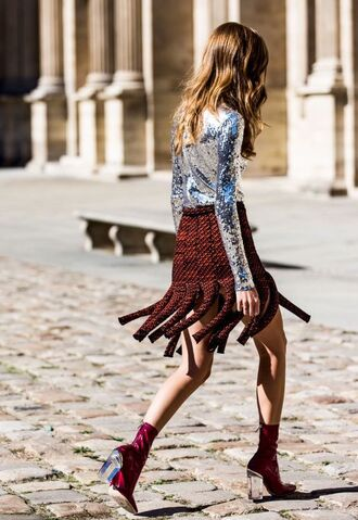 blouse metallic blouse metallic silver long sleeves red skirt skirt mini skirt fringes fringe skirt boots red boots streetstyle high heels boots thick heel block heels tumblr tumblr outfit sequin blouse sock boots