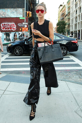 shoes top crop tops all black everything gigi hadid wide-leg pants sunglasses streetstyle ny fashion week 2016 fashion week 2016