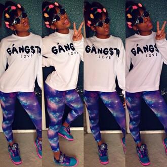 sweater gangsta love galaxy paints gangsta gangster of love galaxy print leggings red lime sunday