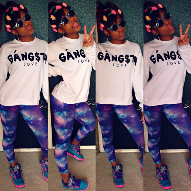 sweater gangsta love galaxy paints gangsta gangster of love galaxy print leggings