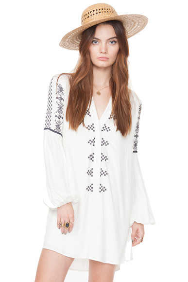 embroidered white dress boho chic bohemian dress long sleeve dress tshirt dress