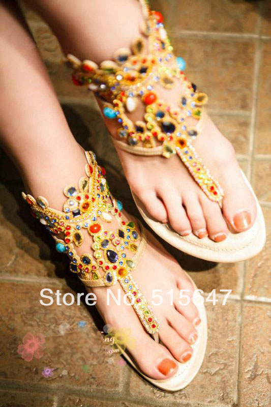 2014 hot fashion women's ankle strap sheepskin leather gladiator sandals t strap diamond flop flip thong sandals party shoes